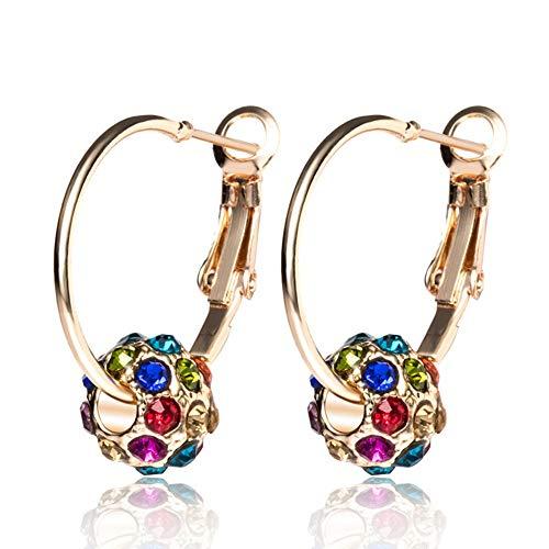 AUEYE® Lovely Korean Women Colorful Crystal Rhinestone Ball Ear Stud Hoop Drop Earrings Huggie Leverback Lucky Ball Jewelry