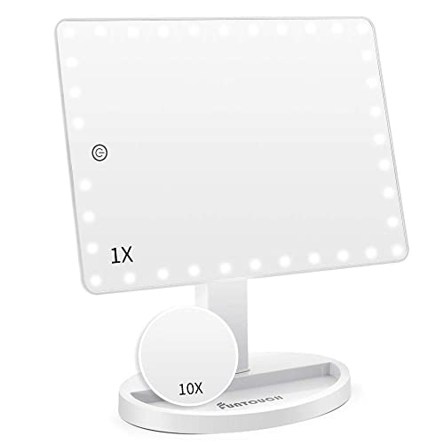 Large Lighted Vanity Makeup Mirror X-Large Model , Funtouch Light Up Mirror with 35 LED Lights, Touch Screen and 10X Magnification Mirror, 360 Rotation Tabletop Cosmetic Mirror White