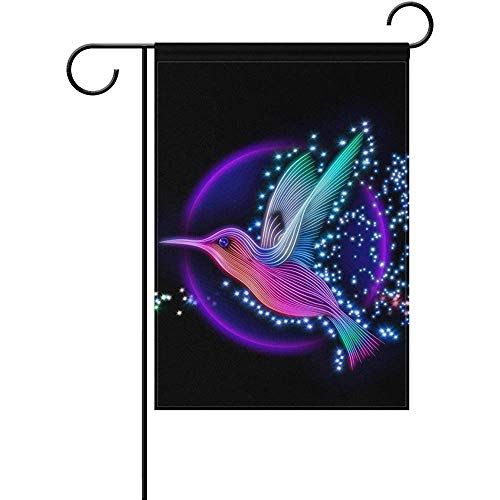 Sandayun88x 3D Render Hummingbird with Stars Garden Flag Double-Sized Print Decorative Holiday Home Flag12.5 x 18 Inch Two Sided Inches