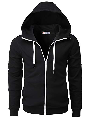 H2H Mens Casual Slim Fit Hoodie Active Zip-up Jackets with Pockets