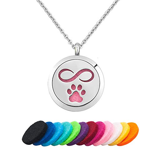 - Infinite Memories Infinity Dog Cat Paw Print on Your Heart Aromatherapy Essential Oil Diffuser Necklace Perfume Locket Pendant Gifts for Women Kids Boys Girls