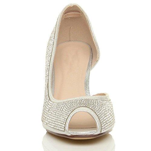 Ouvert Haut côté D'Orsay Bout Femmes Chaussures Argent Strass Talon Ouvert Pointure wxTZSZ