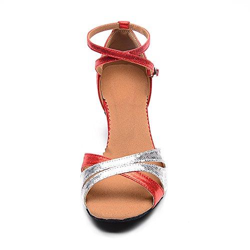 Scarpe Da Ballo Latino Da Donna Superpark Con Suole Morbide Sandali Latini Femminili Scarpe Da Ballo Rosso-allaperto