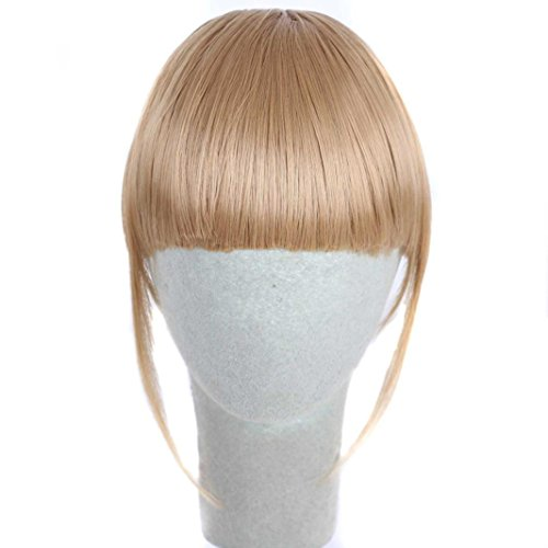 Inkach Women Hair Extension Pretty Girls Clip on Clip in Front Hair Bang Fringe Hairpiece Thin (D)