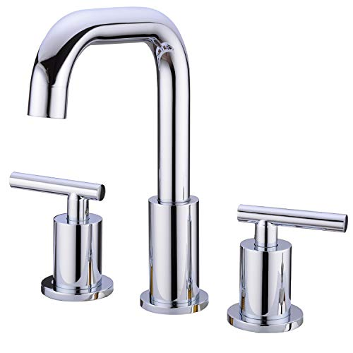 TRUSTMI 2-Handle Widespread Bathroom Sink Faucet High Arc Brass 3 Holes Vessel with cUPC Water Supply Hoses, Polished - Faucet Gooseneck Polished Brass