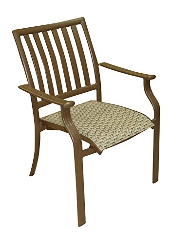 Panama Jack Island Breeze Stackable Sling Arm Chair, Espresso Finish - Relaxed, tropical-style piece finished in a powder coated espresso finish Extruded Aluminum Frame with Twitchell fiber Weather and UV resistant - patio-furniture, patio-chairs, patio - 41cY9EBblqL -
