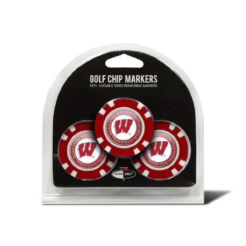 Team Golf NCAA Wisconsin Badgers Golf Chip Ball Markers (3 Count), Poker Chip Size with Pop Out Smaller Double-Sided Enamel Markers