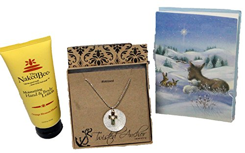 - 3 Piece Gift Set - Religious Gifts For Women, Religious Teacher Gifts For Holiday Season - Includes Two-Tone Cross Necklace, Naked Bee Hand Lotion & Ready To Give Card