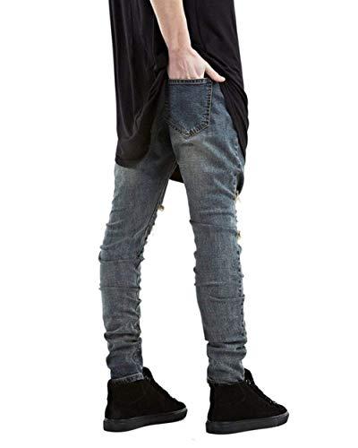 Rasgados Vintage Ropa para Fit De Blau Slim Jeans Pantalones Hombres Básicos Strech Pantalones Destruidos Informal Jeans Mezclilla Jeans 57Hx6z