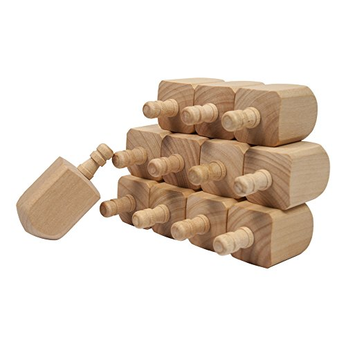 Wooden Dreidels 2-1/2 Inch, Unfinished Natural Wood Dreidels - Bag of - Dreidel Hanukkah Craft