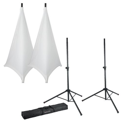 Gator Cases Frameworks Speaker Stand Set with White Covers and Bag by Gator