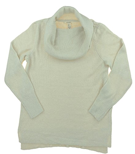 (DKNY Jeans Womens Cowl Neck Sweater with Slight Hi-low Hem (Almond, Large))