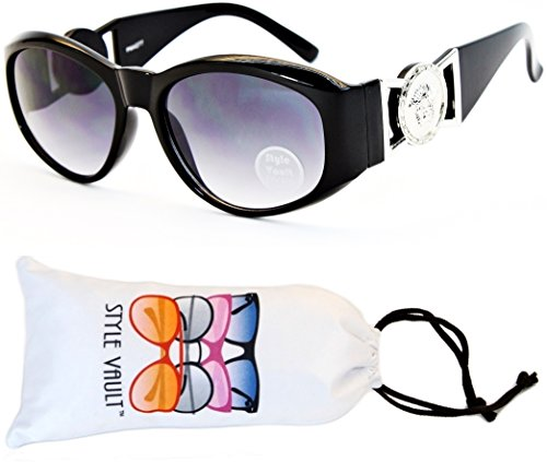WM3009-VP Lion Logo Cateye Style Vault Sunglasses/Eyeglasses (E1719G Black/Silver-Smoked)