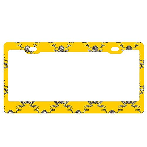 GqutiyulUCOOL Decorator Frames US License Plate Frame, Fabulous Frogs - Bold Yellow Personalized Auto Tag Holder, Aluminum Metal Funny Car Tag -
