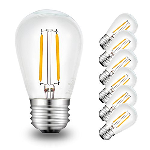 Vivid Plus Led - SOLLED LED Filament Bulb, 2W S14 Dimmable String Light Bulbs, E26 Base 2200K Warm White, 6pc LED Edison Bulbs for Bedside Lamp, Outdoor String Lights, Clear Glass UL Listed