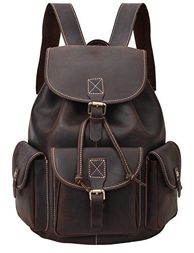 ALTOSY Crazy Horse Leather Backpack Vintage Leather Travel Rucksack College Laptop Bag 8088 (coffee) by Altosy