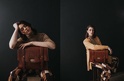 Portable Cartable Sac Sac Marron Sac 7'' pour pour Epaule Main Ordinateur Porté Sac à Vintage Cartable 14 Sac 37x29x10cm Femme Dos Ecosusi Rétro à 4qH5Cw