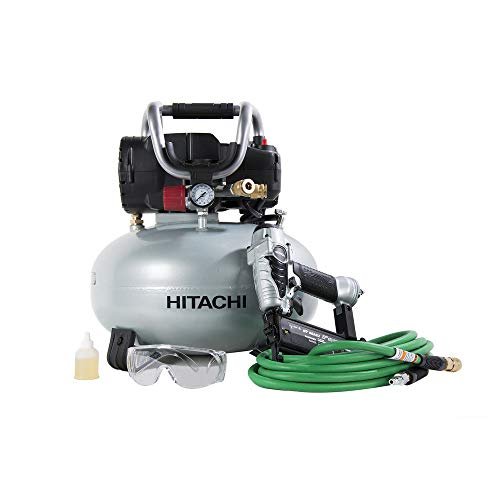 Hitachi KNT50AB Brad Nailer and Compressor Combo Kit, 6 Gallon Pancake Air Tank, 5/8 inch to 2 inch Brad Nails, Includes 25 Air Hose