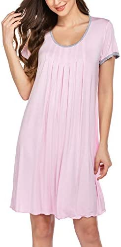 Ekouaer Women's Nightgown Short Sleeve Sleepwear Comfy Sleep Shirt Pleated Scoopneck Nightshirt S-XXL