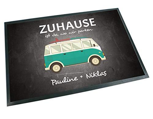41cYAbU8dyL Werbetreff Gera Fußmatte mit Name Bus Camper Abenteuer (50 x 35 cm)