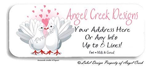 60 Personalized Return Address Labels - Wedding Labels Lovebirds Doves Pink Hearts