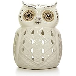 "Hosley White Ceramic Owl Tealight Holder- 7"" High. Ideal Gift for Wedding, Party, spa, Reiki etc, Tea Light P2"