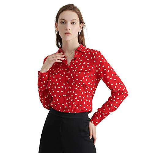 LilySilk Silk Shirts for Women Buttons Long Sleeve Vintage Polka Dot Pattern Pure Natural Silk Blouse Red M/8-10