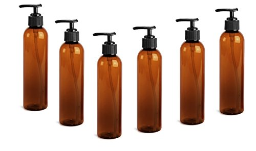 Plastic Lotion - 8 Oz Plastic PET Bullet Bottle (AMBER) with Lotion Pump Dispenser (Set of 6)