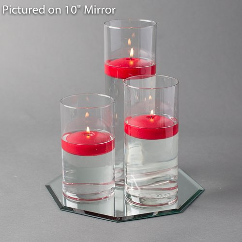 Eastland Octagon Mirror and Cylinder Vases Centerpiece with Richland Floating Candles 3''. 48 Piece (16'' Mirror, Red) by Eastland