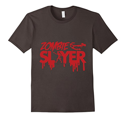 Zombie Slayer Costume (Mens Zombie Slayer T-Shirt | Spooky Halloween Dead Hunter Costume 3XL Asphalt)