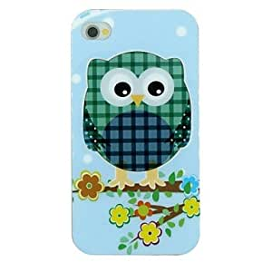 PEACH Plaid Owl And Tree Branch Flowers Pattern TPU Material Soft Back Cover Case for iPhone 4/4S