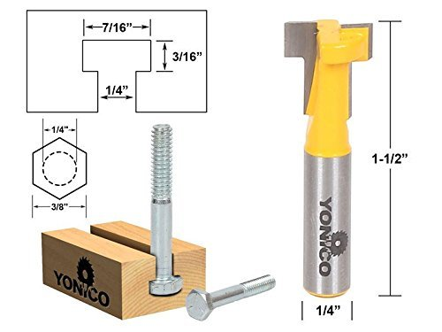 T-Slot Cutter Router Bit for 14 Hex Bolt - 14 Shank - Yonico 14190q
