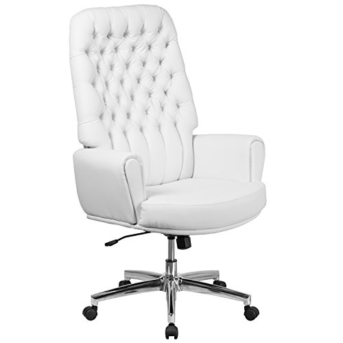 Flash Furniture High Back Traditional Tufted White Leather Executive Swivel Chair with Arms - Back Traditional Leather