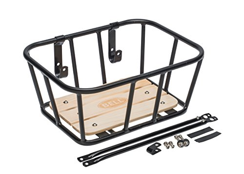 Front Bike Basket - Bell Tote 900 Front Handlebar Metal Basket with Wood Base - black