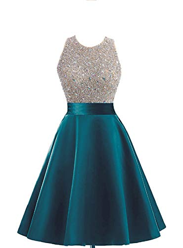 Teal Dress Homecoming (HEIMO Women's Sequins Keyhole Back Homecoming Dress Beading Sequined Prom Gowns Short H210 2 Teal)
