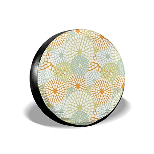 (GULTMEE Tire Cover Tire Cover Wheel Covers,Abstract Hydrangea Flowers Pattern Retro Style Botany Ornament,for SUV Truck Camper Travel Trailer Accessories(14,15,16,17 Inch) 17)