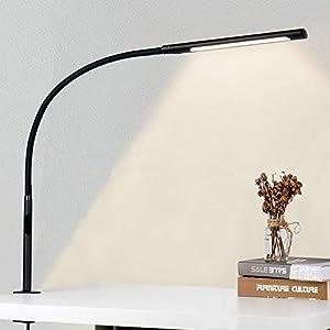 EYOCEAN 12W Lampe de Bureau, avec Pince, LED Protection des Yeux, Température de Couleur Réglable, Contrôle Tactile…