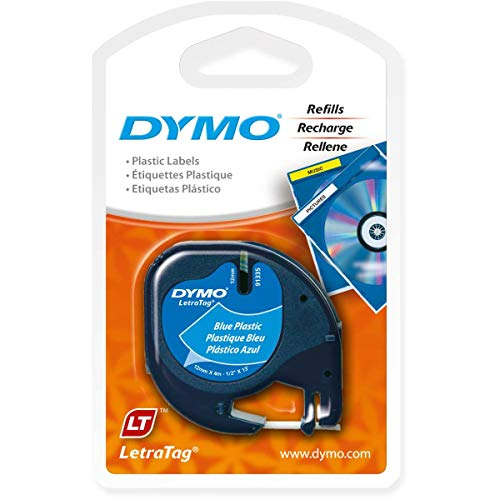 Blue Plastic Tape - DYMO LetraTag Labeling Tape for LetraTag Label Makers, Black Print on Blue Plastic Tape, 1/2'' W x 13' L, 1 roll (91335)