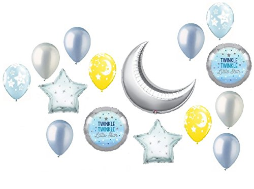 Twinkle Twinkle Little Star Crescent Moon Boy Baby Shower Balloon Bouquet Decorating Kit 15 Piece Mylar and Latex Balloons Set -Plus (1) 66' (66 Foot) Roll of Curling Balloon Ribbon (Crescent Bouquet)