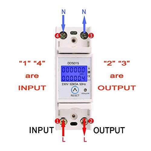SINOTIMER DDS015 230V Din Rail Einphasen Wattmeter Leistungsaufnahme Watt Elektronischer Energiez/ähler AC mit Reset-Funktion Wei/ß
