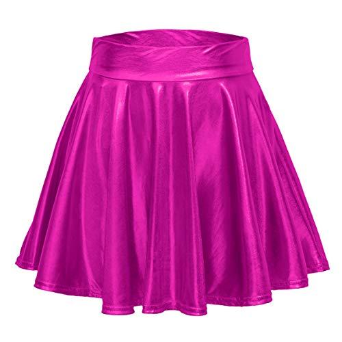Urban CoCo Women's Shiny Flared Pleated Mini Skater Skirt (L, Rose)
