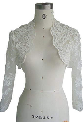 Bolero Jackets Bridal (EllieHouse Women's Lace Wraps Wedding Bridal Bolero Jacket With Pearls WJ16 Ivory Size 16)