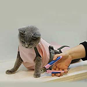 Cinf Cat Pet Supply Grooming Bag Restraint Bag Cats Nail Clipping Cleaning Grooming Bag,No Scratching Biting Restraint for Bathing Nail Trimming Injecting Examining,(Pink,M)