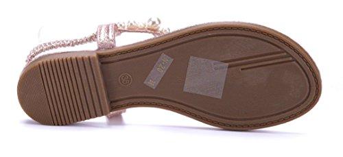 ... Schuhtempel24 Damen Schuhe Zehentrenner Sandalen Sandaletten Flach  Ziersteine Bronze ... ad13ce6f8b