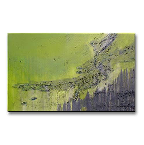 Eloise World Studio Modern Abstract Canvas Wall Art. Limited Edition, Hand Embellished Giclee on Canvas, 48 x 30 x 1.5 Ready to Hang! Lime and Steel