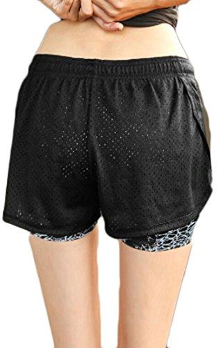 GenericWomen Running Yoga Shorts Activewear Workout Athletic Jogging Shorts Grey L by GenericWomen