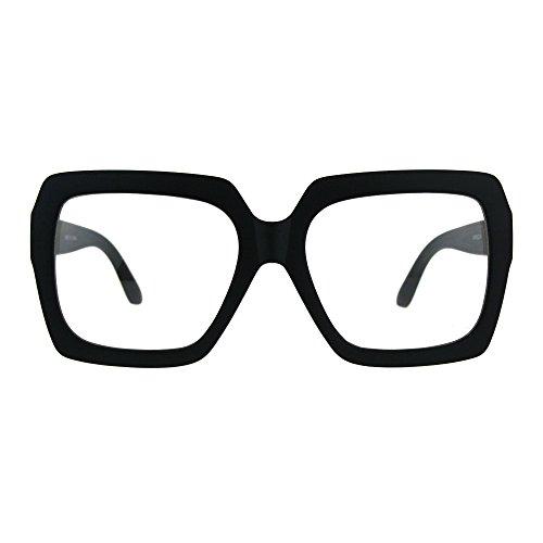 Thick Plastic Clear Lens Rectangular Oversize Eyeglasses Matte - Glasses Nerd Guys Clear