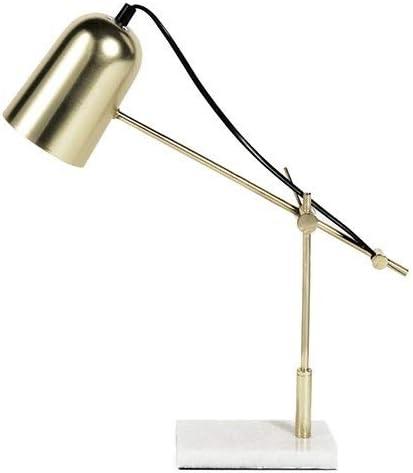 LIFA LIVING Lámpara de escritorio, Lámpara de mesa de noche, Lámpara de lectura diseño clásico, Para oficina, dormitorio, sala de estar, Metal y mármol, Alt. ajustable hasta 60cm: Amazon.es: Iluminación