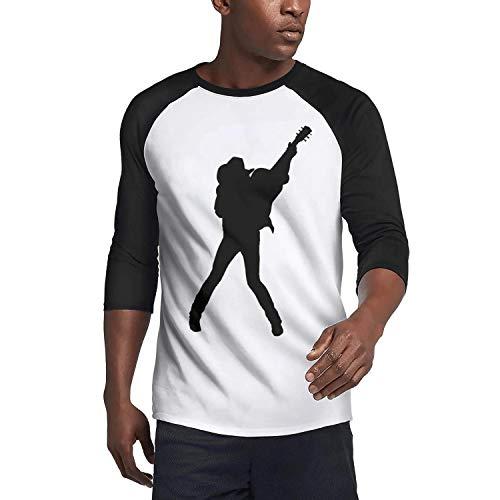 (SUITPANRe Men's Casual 3/4 Sleeve Baseball Tshirt Rock Band Logo Plain Raglan Jersey Shirt)
