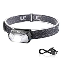 LE LED Headlamps,165 Lumens Waterproof Flashlight Head Lamp with 7 Light Modes, USB Rechargeable Headlight for for Camping, Running, Climbing, Hiking, Outdoors, USB Cable Included